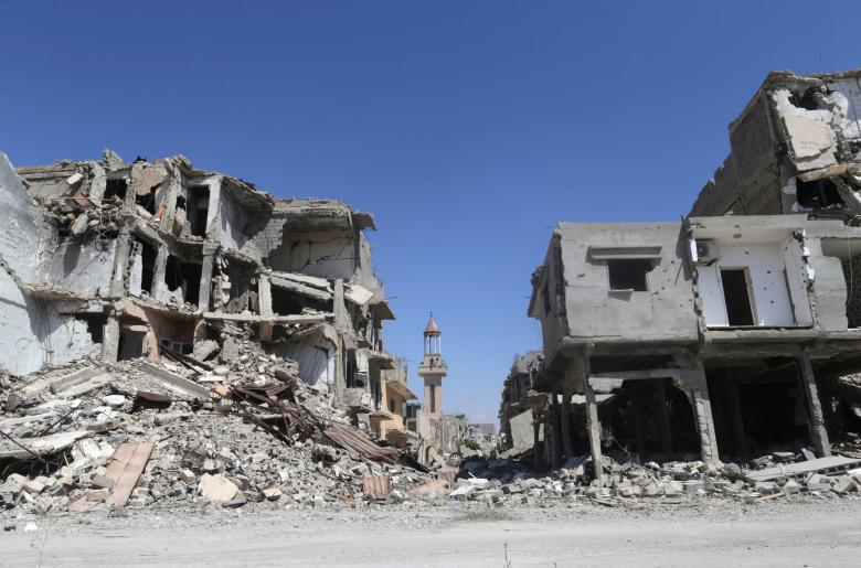 Destroyed building from clashes between the Libyan army and Islamist militants in their last stronghold in Benghazi