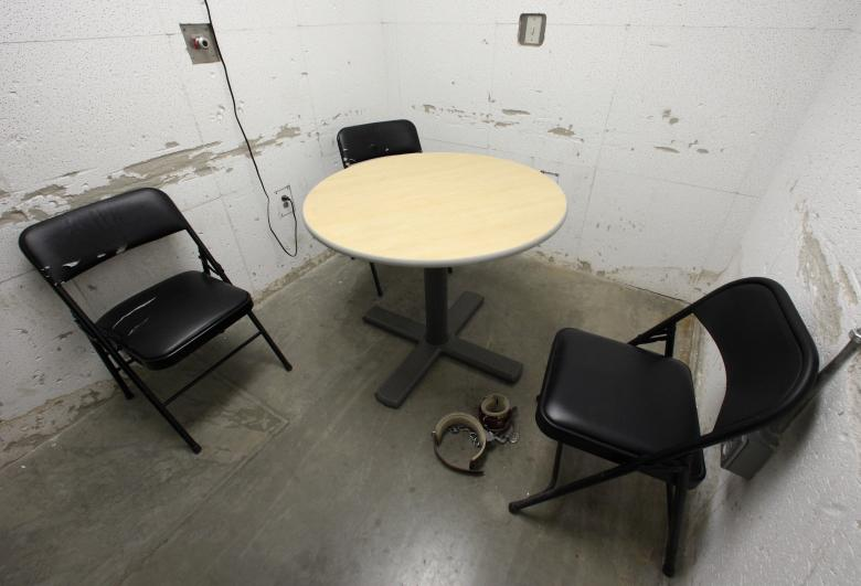 A room used for meetings between lawyers and their clients is seen at Camp VI, a prison used to house detainees at Guantanamo Bay U.S. Naval Base
