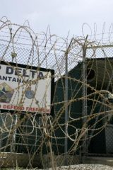 The front gate of Camp Delta is shown at the Guantanamo Bay Naval Station in Guantanamo Bay